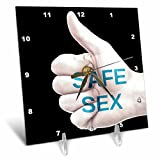 3dRose RinaPiro - Sex Quotes - Safe sex. - 6x6 Desk Clock (dc_266082_1)