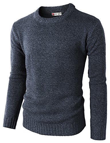 T-shirt Wool Sweater - H2H Mens Slim Fit Twist Tee Crew Neck Lightly See-Through Stretchy Tshirts Sweater Navy US M/Asia L (KMOSWL0122)