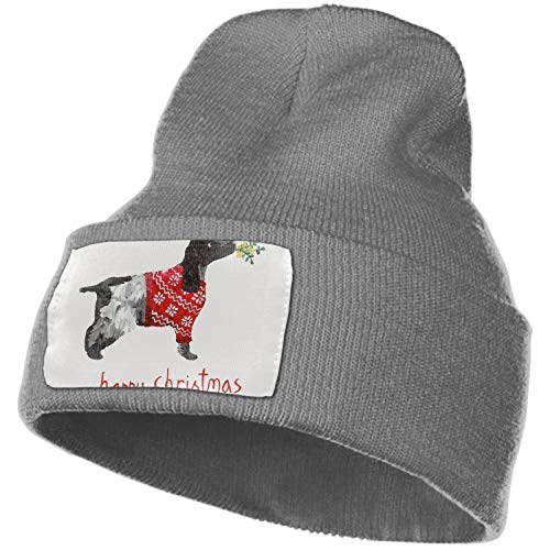 SHUIZHIQING Unisex Thick Oversized Cable Knitted Fleece Lined Happy Christmas Cocker Spaniel Beanie Hat with Hair Tie.