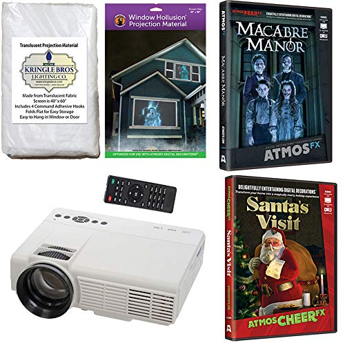 AtmosFearFx Christmas and Halloween Digital Decoration Kit Includes 800 x 480 Resolution Projector, Hollusion (W) + Reaper Bros Rear Projection Screens, Santa's Visit and Macabre Manor