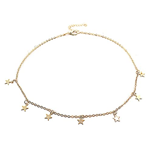 d3a611ab3a6f Amazon.com: doublelovely Boho Chocker Chain Tassel Star Choker Necklace for Women  Necklaces & Pendants Collar Gold onesize: Jewelry