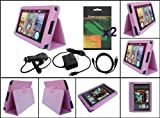 kindle battery first generation - iShoppingdeals - Pink PU Leather Case USB Charger Cable Bundle for Amazon Kindle Fire 7