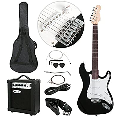 Polar Aurora Full Size Black Electric Guitar + 10 W Amp + Gig Bag Case + Guitar Strap Beginners+Cord