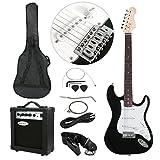 Polar Aurora Full Size Black Electric Guitar + 10 W Amp + Gig Bag Case + Guitar Strap Beginners+Cord