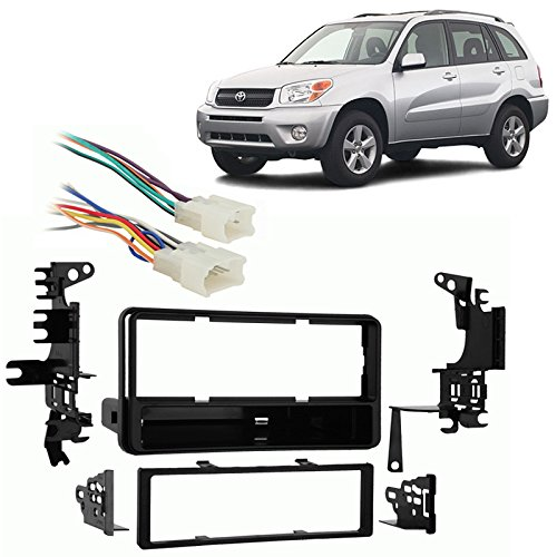 Fits Toyota RAV4 2001-2005 Single DIN Stereo Harness Radio Install Dash Kit (Toyota Rav4 2005 Stereo compare prices)