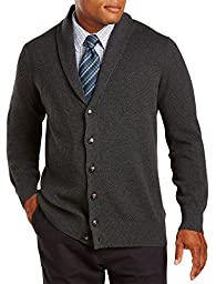 Oak Hill Big & Tall Button-Front Shawl-Collar Cardigan (5XLT, Carbon Heather)