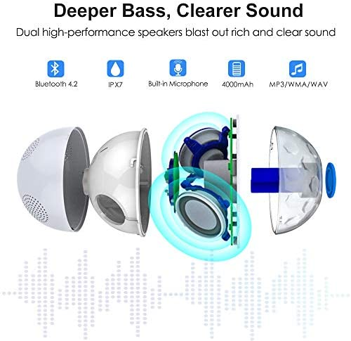 Bluetooth Portable Speaker with RGBW Lights,IPX7 Waterproof Speakers with Dual Drivers,Rich Bass,50ft Bluetooth Range,Built-in Mic,Portable Wireless Speaker for Home Outdoor Pool Hot Tub Shower Travel 511bHZby5XL
