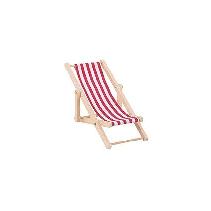 Amazon.es: 01:12 plegable silla de playa de madera rayada ...