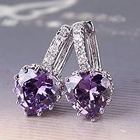 Siam panva 18k white gold filled purple Topaz fabulous lady nice leverback earring