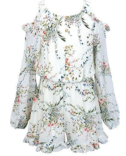 Hannah Banana Truly Me, Big Girls Tween Stunning Romper (Many Options), 7-16 (10, Ivory Floral) by Hannah Banana