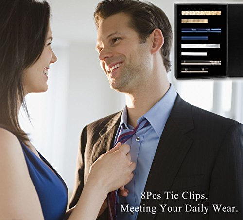 LOYALLOOK 8PCS Tie Bar Clip Set Tie Tack Pins Clips for Men Necktie Bar Pinch Clip Set Skinny Regular Ties Necktie Wedding Business Clips Mix by LOYALLOOK (Image #6)