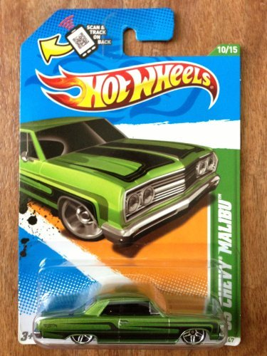 Hot Wheels 2012 65 Chevy Malibu Car Metalflake Green Treasure Hunts Card 60