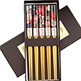 LUNA 5 Pairs Japanese Style Restaurant Wooden Chopsticks Sushi Tableware (A13)