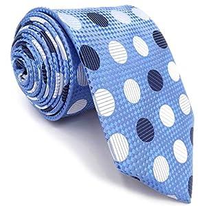 Shlax&Wing Mens Necktie Blue Azure White Polka Dots Silk Skinny Prime
