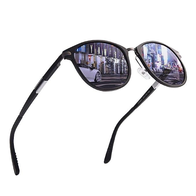 2f058e18d1 Round Polarized Sunglasses for Men Women-Retro UV400 Metal Frame Driving  Glasses (black-
