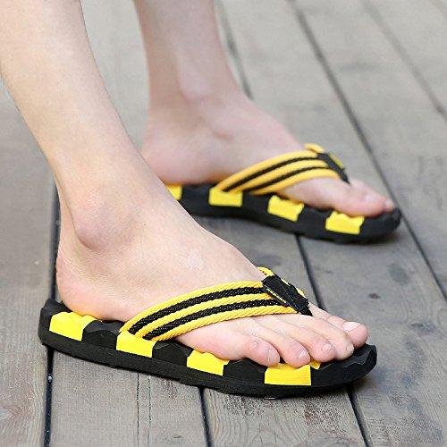 Xing Lin Sandalias De Hombre Pendiente Con Zapatillas Verano Nuevo Esponja Fuera De Tacón Sandalias Y Zapatillas De Cuero Grueso Aumento Sandalias De Plataforma 40 Amarillo