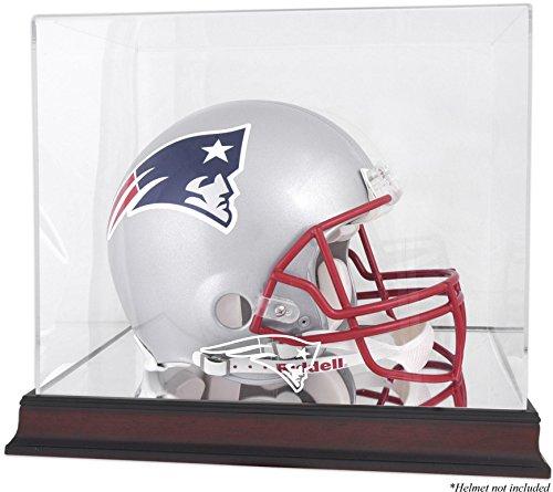 New England Patriots Mahogany Helmet Logo Display Case and Mirror Bottom and Back
