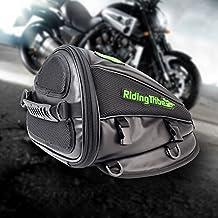 Alforja para motocicleta, multifuncional, PU impermeable, bolsa de almacenamiento de piel, para asiento de motocicleta, accesorios livianos para viaje, color negro, negro