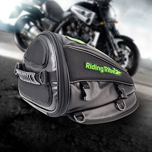 Motorcycle Bag (Motorcycle Backseat Saddle Bag, Meago Multifunctional Waterproof PU Leather Storage Tank Bag for Motobike Rear Seat Spuer Light Tail Accessories Bags, Black)