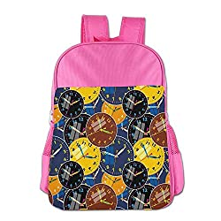Haixia Kids' Boys&Girls Backpacks Clock Decor A Pattern with Clock Faces On It Vintage Illustration Decorative Design Yellow and Black