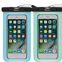 2 Pack Waterproof Case,iBarbe Universal Cell Phone Plasic TPU Dry Bag for iPhone 7 7 plus 6S 6/6S Plus 5/S/SE 5C samsung galaxy Note 5 s8 s8 plus S 8 S7 S6 Edge s5 etc.to 5.7 inch,Tear+Blue