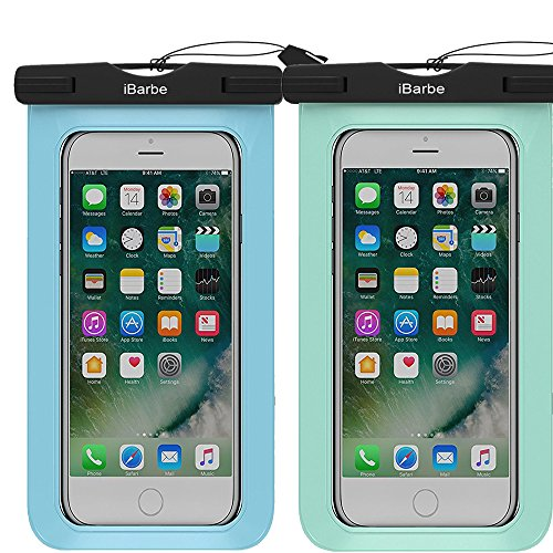 iBarbe 2 Pack Waterproof Case, Universal Cell Phone Plasic TPU Dry Bag for iPhone 7 7 plus 6S 6/6S Plus 5/S/SE 5C samsung galaxy Note 5 s8 s8 plus S 8 S7 S6 Edge s5 etc.to 5.7 inch,Tear+Blue