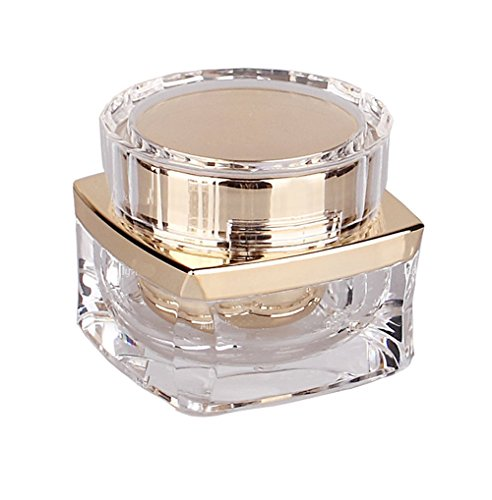 1PCS 30g Upscale RefillableAcrylic Cosmetic Bottles With Screw Lid and PP Liner-Travel Refillable Jar Pot Makeup Face Cream Eye Cream Holder Container Sample Packaging Storage Case(Transparent+Golden)