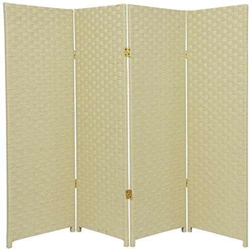 Oriental Furniture 4 ft. Tall Woven Fiber Room Divider - Cream - 4 (Accordian Panel)