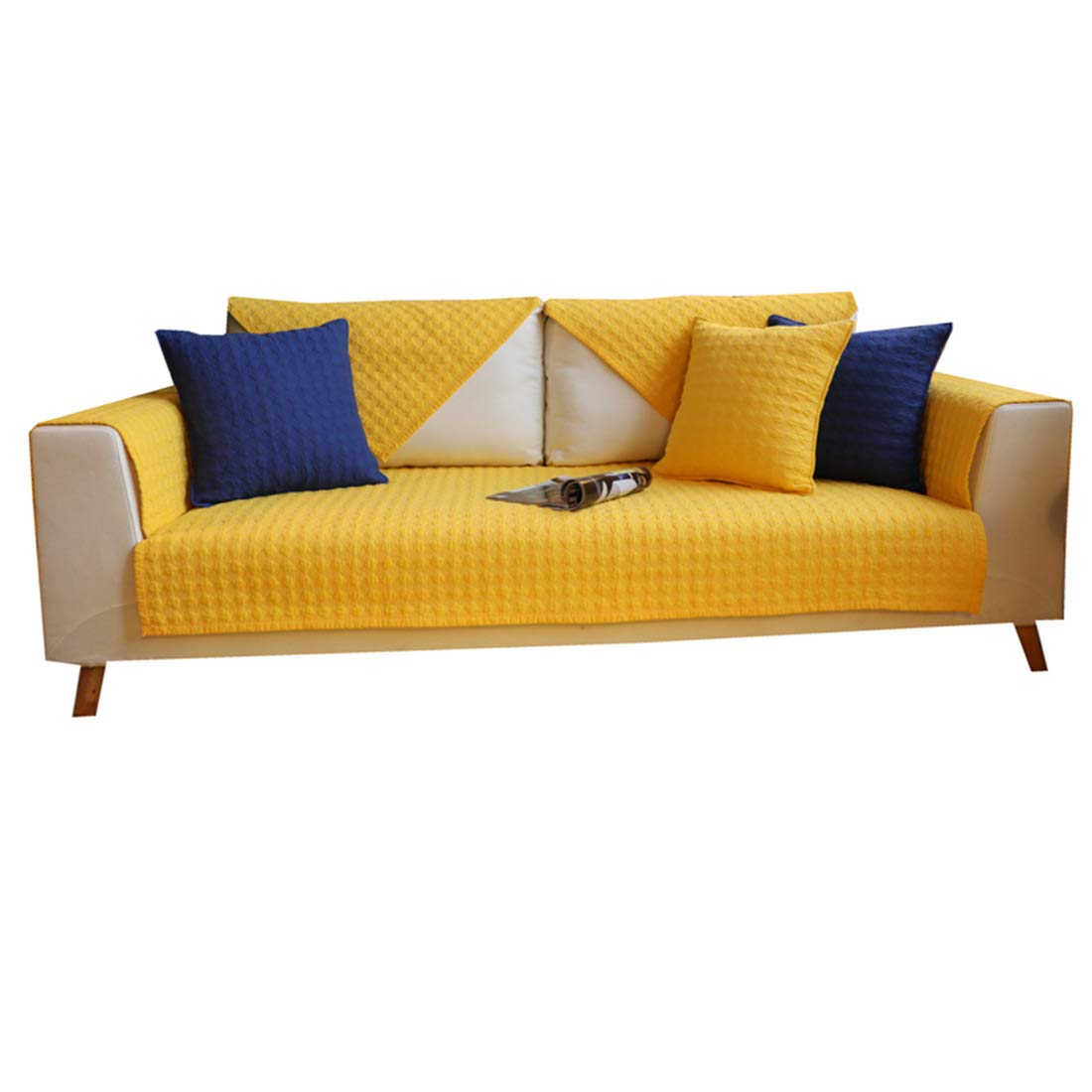 Royhom Simple Solid Color Sofa Protector Slipcover Keeps Furniture Clear Cotton Material/Backrest Armrest Sold Separately/Warm Yellow 43'' x 83'' (110 x 210cm)
