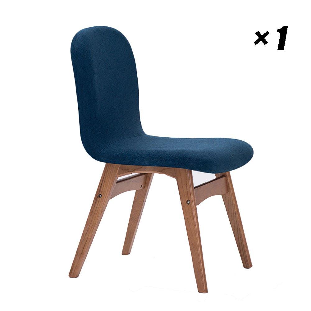 ソリッドウッドダイニングチェアモダンラウンジシートシンプルなキッチンチェア、家庭用、レストラン、カフェレジャー43.5×57×82cm (色 : Blue linen, サイズ さいず : Set of 1) B07F889FPT Set of 1 Blue linen Blue linen Set of 1