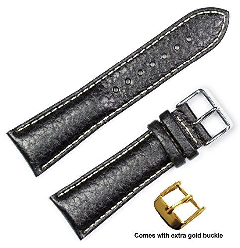 deBeer brand Sport Leather Watch Band (Silver & Gold Buckle) - Black 18mm (Long Length)