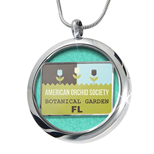 NEONBLOND US Gardens American Orchid Society Botanical Garden - FL Aromatherapy Essential Oil Diffuser Necklace Locket Pendant Jewelry Set