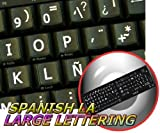 SPANISH LATIN AMERICAN LARGE UPPER CASE NON-TRANSPARENT KEYBOARD STICKERS ON BLACK BACKGROUND FOR DESKTOP, LAPTOP AND NOTEBOOK