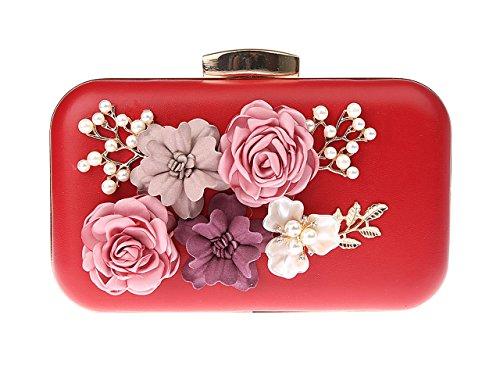 Tracolla Donna Rosso Elegante Portafoglio rosso Pochette Pochette Borsetta Ankoee Sera Rosa Fiori Borse nIqpRTU