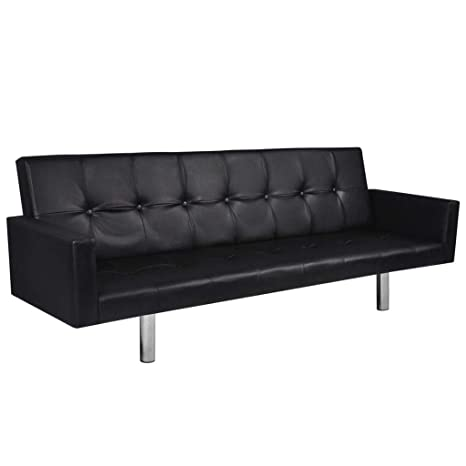Tidyard Leather Sofa Bed, Sofa Futon Couch with Armrest Living Room Furniture Artificial Leather Black
