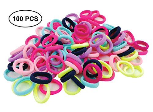 Price comparison product image 100 Count Hair Ties for Kids, Tiny Soft Cotton Elastic Hair Bands for Toddler Baby Girl, Mini Size, Cute Colors No Aches Durable Hair Accessories by Prefer Green (Multi)