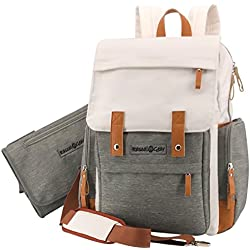Rascal Gear Designer Baby Diaper Bag Backpack Or Cross Body Bag for Mom Or Dad with Bonus Changing Pad Clutch, Stroller Straps, Detachable Shoulder Strap, Insulated Pockets; The Heather Bag