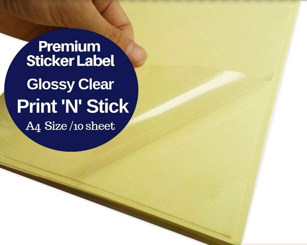 SUMMERSTAR Clear Sticker Paper Glossy Waterproof - Printable Transparent Film A4 Full Sheet 10 Pack PVC Label Self Adhesive for Laser Printer Double Protection SUMMERSTAR