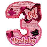 Aztec Imports, Inc. Number Three Girls Third Birthday Pinata, Pink 20'' Party Game, Centerpiece Decoration and Photo Prop with Butterfly Star and Shiny Accents