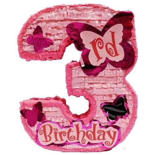 Aztec Imports, Inc. Number Three Girls Third Birthday Pinata, Pink 20