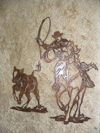 Amazon cowboy roping calf metal wall art rodeo home decor home cowboy roping calf metal wall art rodeo home decor teraionfo