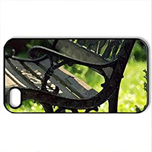 Bench in park - Case Cover for iPhone 4 and 4s (Amusement Parks Series, Watercolor style, Black)