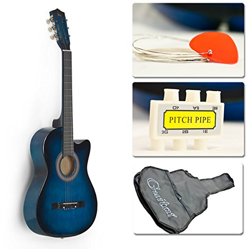 Best Choice Products 38in Beginners Acoustic Cutaway Guitar w/Case, Strap, Tuner, and Pick - Blue by Best Choice Products