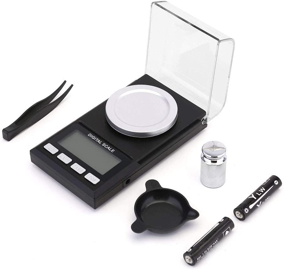 TBBSC High Precision 0.001gx50g Digital Milligram Pocket Scale,Electronic Weighing Scales for Jewelry Coins, Reload and Kitchen with USB Cable,Calibration Weights, Tweezers and Weighing Pans