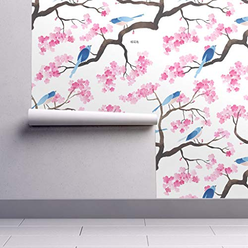 Peel-and-Stick Removable Wallpaper - Chinoiserie Watercolor Floral Blossom Birds Chintz Japenese Spring by Cat Hayward - 24in x 144in Woven Textured Peel-and-Stick Removable Wallpaper Roll ()