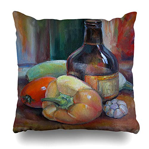 Ahawoso Throw Pillow Cover Painting Brown Still Life Bottle Food Drink Paints Abstract Red Canvas Fine Fruit Glass Design Oil Decorative Pillowcase Square Size 18