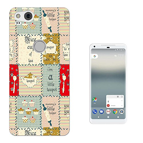 003420 - Teapot Cake British Kitchen Patch Work pattern Google Pixel 2 (2017) CASE Gel Silicone All Edges Protection Case Cover