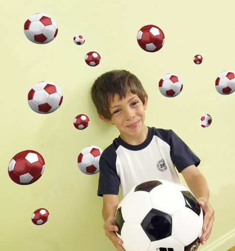 Funtosee Wall Decals, Red Soccer - Manchester Bedroom Furniture