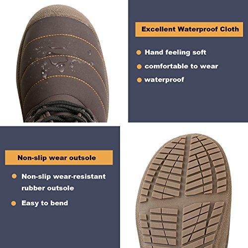 L-RUN Womens Winter Snow Boots Waterproof Outdoor Ankle Booties Comfortable Brown SjMkcLVk