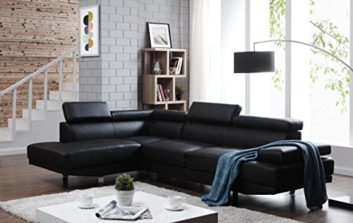 Direct S0070L-2PC Rangel Elegance Faux Leather Upholstered Contemporary Modern Left-Sided Sectional Sofa, 110.2